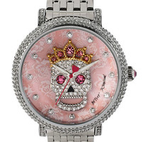 Betsey Johnson Ladies Crystallized Skull Motif Watch