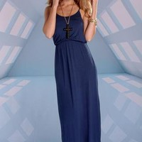 Navy Blue Sleeveless Maxi Dress with Elastic Waist
