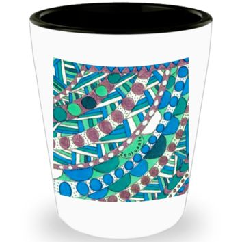 "Zentangle Shot Glass - Have a ""Shot of Art"" hand drawn by ZenJoanie - ""Connect the Dots"" - Authentic Zentangle Stuff makes Great Gifts"