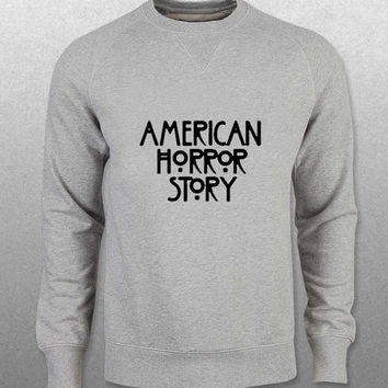 american horror story sweater Gray Sweatshirt Crewneck Men or Women Unisex Size with variant colour