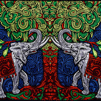3D - Elephant Tree - Tapestry