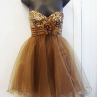 A-line Sweetheart Sleeveless Short/Mini Satin Organza Prom Dress With Hand-Made Flowers Paillette  Free Shipping