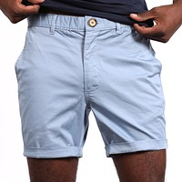 Light Blue Cotton Stretch Twill Shorts Sizes 32, 34, 38 Available