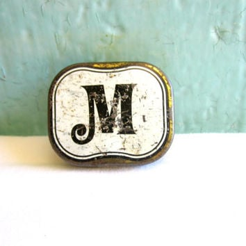 Small vintage tin with 'm' letter typography - shabby chic home decor - vintage lettering
