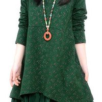 Green Floral Print Long Sleeve A-Line Dress