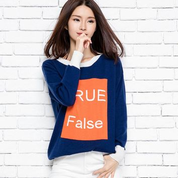 2016 New women's winter  jacquard cashmere sweater casual letters loose knit Pullover colorTops Qulity Clothing