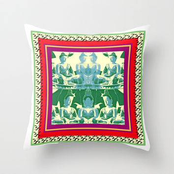 buddhas in green Throw Pillow by Kathead Tarot