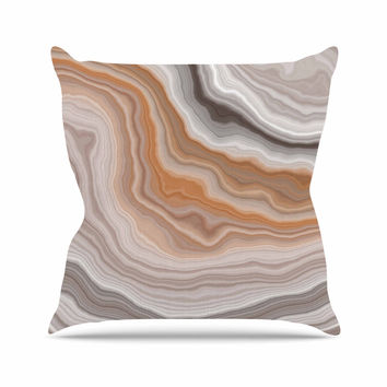 "KESS Original ""Burnt"" Orange Geological Outdoor Throw Pillow"
