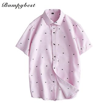 Spring Casual Men Shirt Men Dress Shirt Slim Fit Plaid Shirt short sleeve