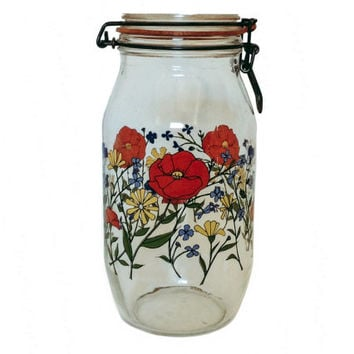 Vintage Glass Canning Jar Arc France Flower Canister Sealed Vintage 2L Glass R. Carman Home Decor