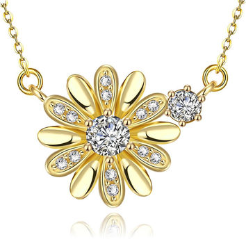 Gold Plated Snowflake * Pendant Necklace