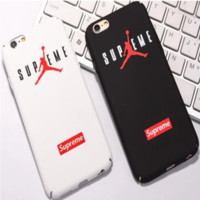 """Air Jordan X Supreme"" Letter Apple iPhone 6/6Plus Hard Shell Case iPhone 7 Couple Phone Case Set Two-Piece"