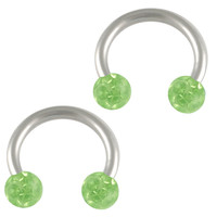 Hard Candy Peridot Crystal Circular Barbell Horseshoe [Gauge: 16G - 1.2mm / Diameter: 8mm / Ball Size: 3mm] 316L Surgical Steel & Ferido // Set...