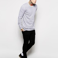 ASOS Longline Sweater with Perforated Texture - Gray