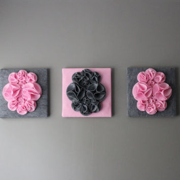 "Three Wall Art Canvases, Pink and Gray Nursery Wall Art, 3D Wall Decor, Felt 12x12"" Wall Hangings"