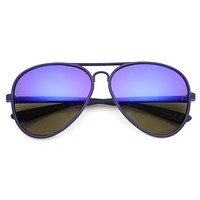 Retro Color Rubberized Oversize Mirror Lens Aviator Sunglasses 9831