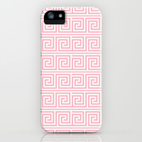 Blush Pink Greek Key Pattern  iPhone & iPod Case by heartlocked