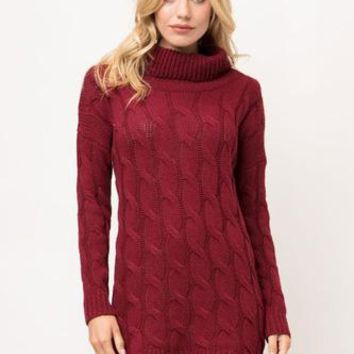 Open To Love Sweater Dress - Burgundy