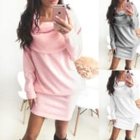 Fashion Solid Color Long-Sleeved Dress
