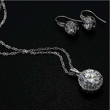Heart Set CZ Solitaire Necklace and Earrings on White Gold