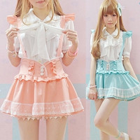 High Waisted Summer Skirt Falda Tirantes Cute Japanese Ruffle lace Suspender Skirt Detachable Strap Lolit Aymmy Bandage skirts