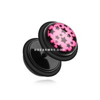 A Pair of Multi Star Acrylic Fake Gauge Plug Earring (Pink/Black)