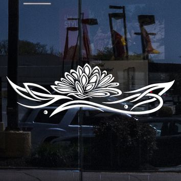 Window Decal and Wall Vinyl Sticker Lotus Relaxation Ornament Zen Lotus Unique Gift (z2934w)