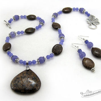 Bronzite Jewelry Set necklace earrings set purple jewelry bronzite necklace pendant necklace statement necklace purple holiday gift for her