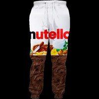 Nutella Men Joggers 3d Printed snacking spread on a crispy Jogger Sweatpants Women Men Full Length Hip-hop Trousers Pants