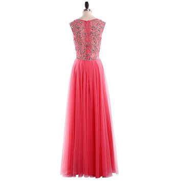 Fashion Scoop Neck Tulle  A Line Long Prom Dresses Sleeveless Off The Shoulder Beading Floor Length Prom Dress