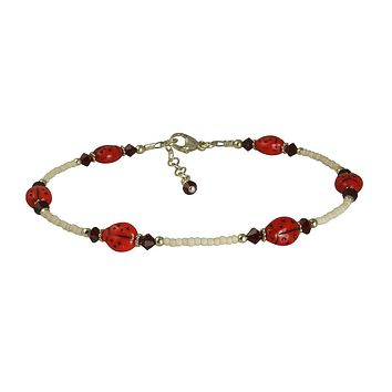 Ruby Crystal Ladybug Beaded Anklet