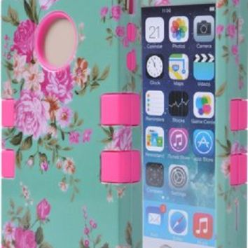 iPhone 5S Case, iPhone 5 Case, AUMI Hybrid Impact Dual Layer Shockproof Elegant Flower Hard Armor Shell and Soft Silicone Case for Apple iPhone 5/5S