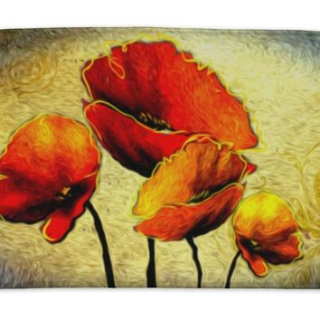 Bath Mat, Abstract Flower Oil Painting