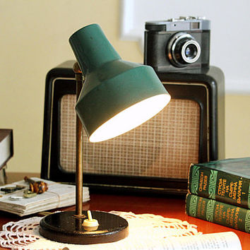 Industrial Desk Lamp - Green Table Lamp - Small Vintage Lamp - Retro Office Lamp - Industrial Decor - Industrial Lightning