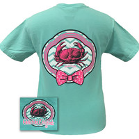 Girlie Girl Originals Preppy Crab 2 Chevron Bow Comfort Colors Chalky Mint Bright T Shirt