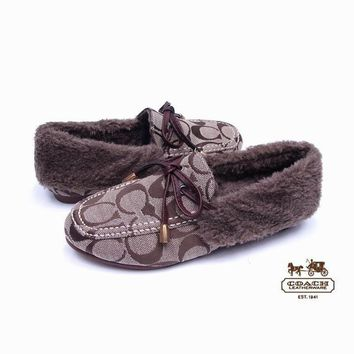 b92f50c25 COACH Women Fashion Leather Winter Warm Fur Flats Shoes
