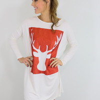 Reindeer Games Ivory & Red Glitter Reindeer Tunic