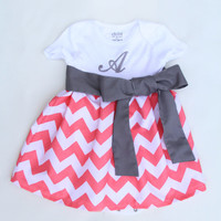 Pink Chevron Onesuit Dress- Monogramming Included