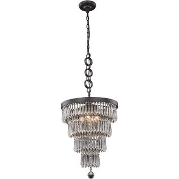"Bastille 15"" Diam Chandelier, Mocha Brown, Clear Crystal, Royal Cut"