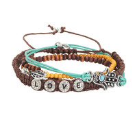 Aeropostale Womens Hamsa Love Bracelet 4-Pack, One