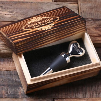 Personalized Wine Heart Shape Stainless Steel Wine Stopper with Wood Gift Box Wedding Couple Gift