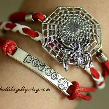 Spider-Man returned,Red fashion cool bracelet,Hero and Peace,love and hope,Awesome,boy girls gift,gift box,IB031