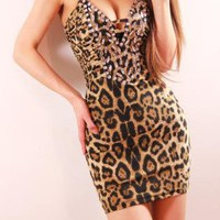 Vinosc slim leopard v-neck low cut diamond strap dress