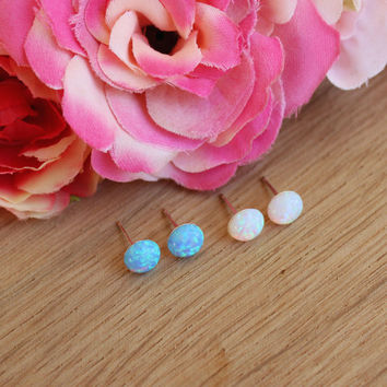 opal stud earrings, 6MM white blue opal dot post earrings, 925 silver sterling earrings, simple opal jewelry, gift jewellery under 15USD