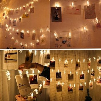 2M 6.5FT 1M 3.3FT LED Garland Lights Photo Clip Fairy LED String Lights battery operated Window party wedding decoration mariage
