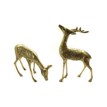 "Large Brass Stag And Doe Statues, Pair of Vintage Brass Sculpture 9"" Tall and 7.5"" Long Set of Animal Figurines SMPOST"