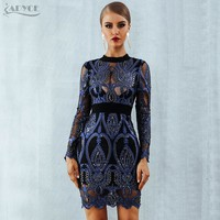 ADYCE 2019 New Winter Luxury Sequin Celebrity Party Dresses Women Long Sleeve Sexy Backless Mesh Hollow Out  Club Dress Vestidos
