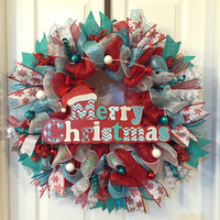 Christmas Wreath, Whimsical Christmas, Christmas Deco Mesh, Christmas Front Door, Holiday Wreath, Holiday Deco Mesh, Whimsical Wreath