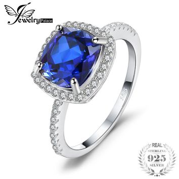 3.3ct Cushion-Cut Blue Created Sapphire 925 Ring
