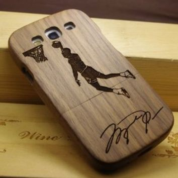 ElecBank Jordan Signed NBA Basketball Player Pattern Wood Wooden Hard Shall Cover Case + Film for Samsung i9300 Galaxy S3 III